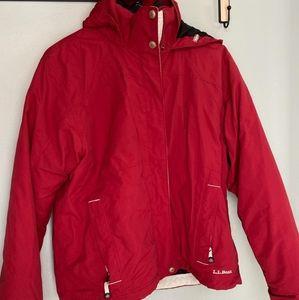 LL Bean Red fleece lined womans coat